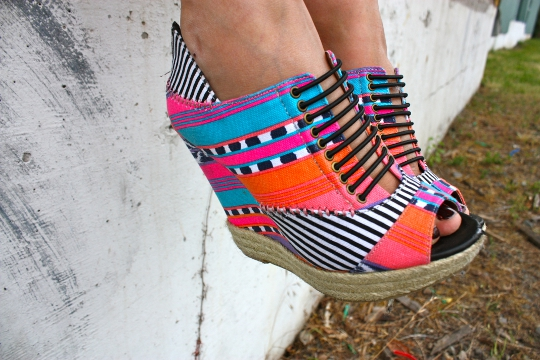 peep toe multi colored wedges