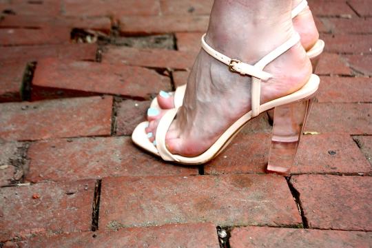 glass heeled shoes