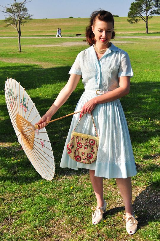1950s shirtwaist dress with parasol