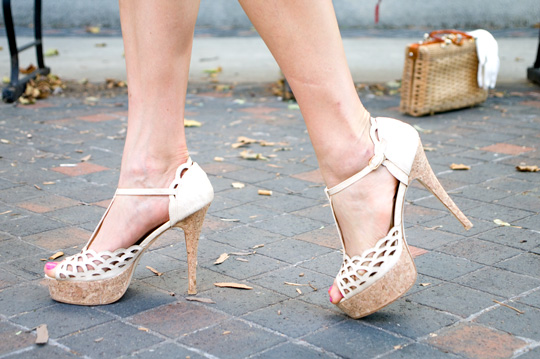 cork t strap heels worn on feet
