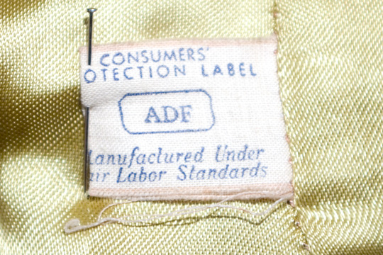 a union label with consumer protection label and manfactured under labor standards