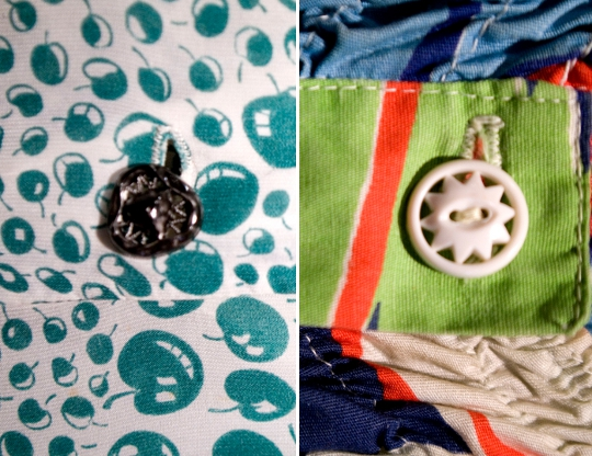 vintage buttons on a 1940s and 1960s dress