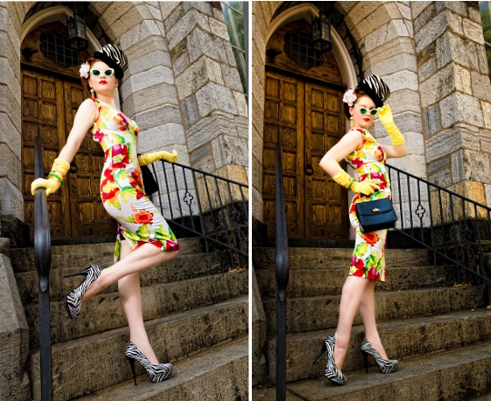 hope adela of pink champagne blog wearing stop staring dress