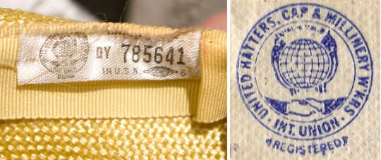the label of a hat by united hatters cap and millinery workers international union