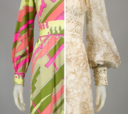 sleeve from a 1960s dress and sleeve from a 1970s dress