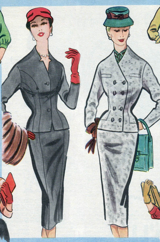 1950s boxy style skirt suit jacket in fashion advertisement
