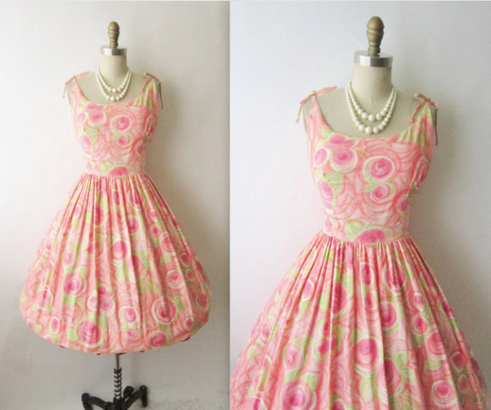 1950s floral dress with hourglass silhouette