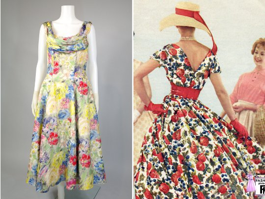 a 1950s vintage hourglass floral dress from hinesite vintage