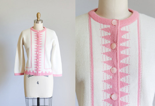 a 1950s knit sweater available to buy on etsy