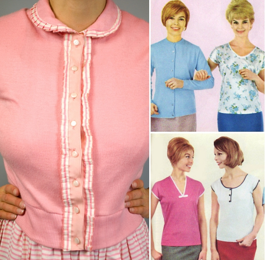 examples of knit sweaters from the 1950s