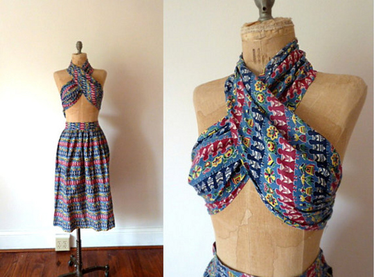 1950s beachwear matching skirt and halter top