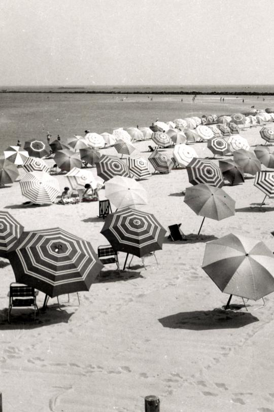 umbrellas on a beach in the 1950s