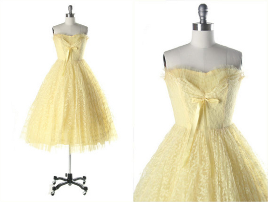 '50s yellow lace prom dress