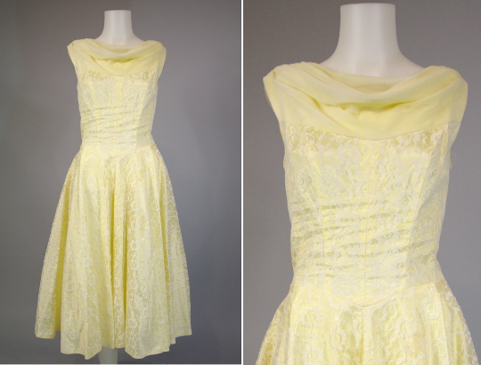 a yellow lace prom dress from the 1950s