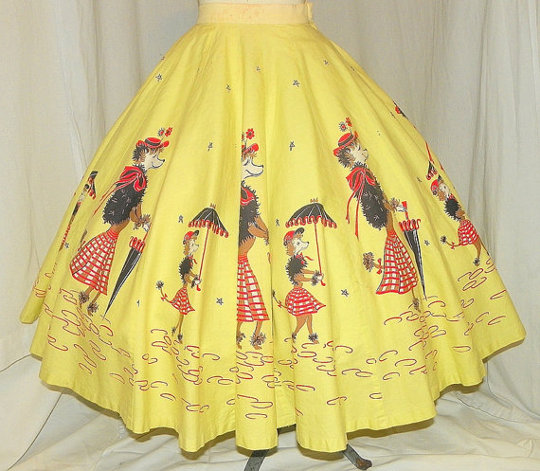 a 1950s circle skirt in parisian theme from etsy