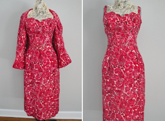 a 1950s sequin wiggle dress