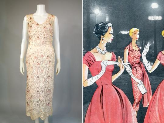 1950s sequin wiggle dress