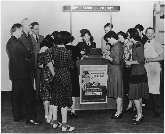 women wearing dresses during world war two