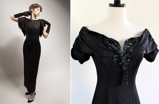 1980s Clothing Trends Glam Black Dress