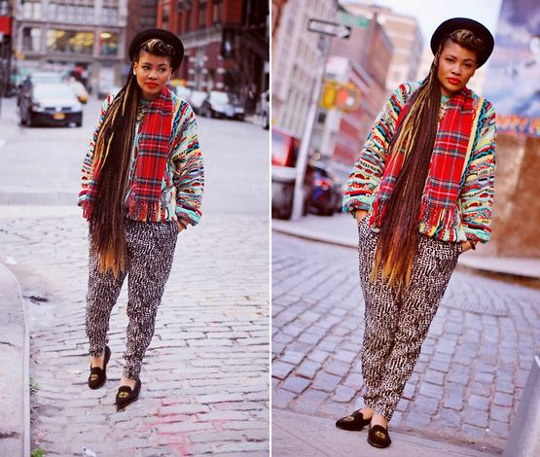 1980s coogi oversize sweater worn on fashion blogger