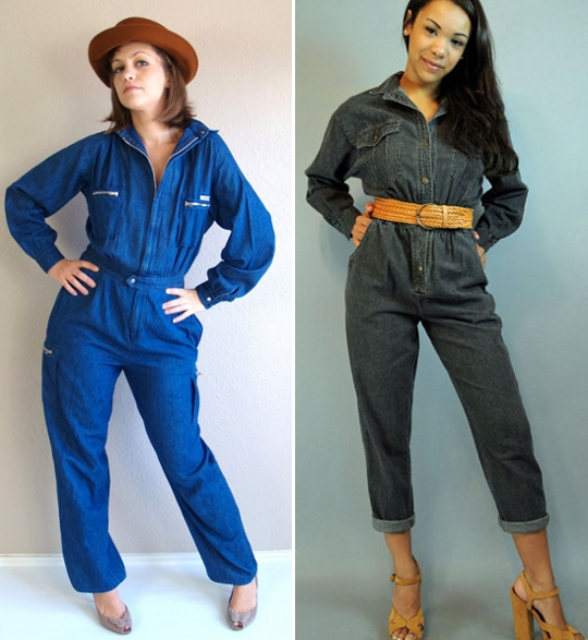 1980s denim jumpsuits available to purchase on etsy