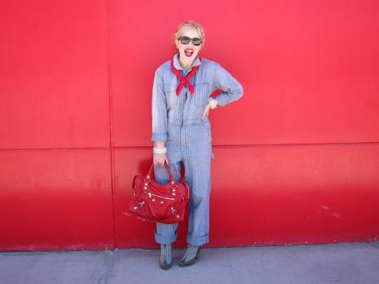 1980s denim jumpsuit worn by fashion blogger