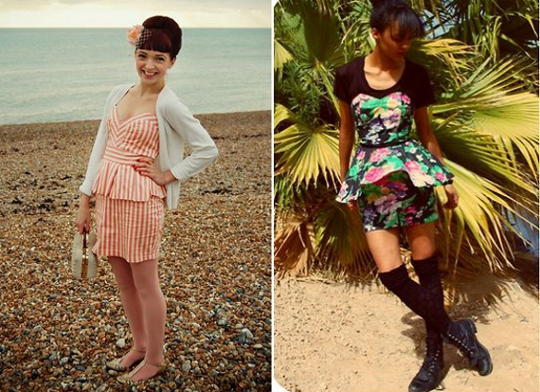 80s vintage peplum dresses worn by fashion bloggers
