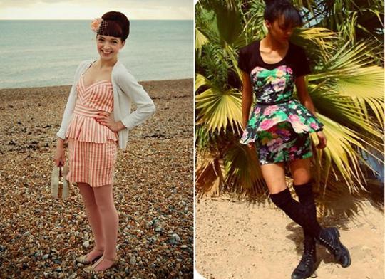 80s vintage peplum dresses worn by fashion bloggers