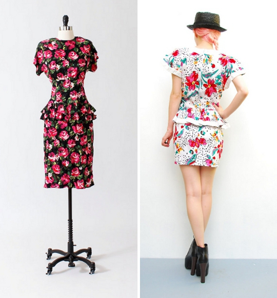 '80s peplum dresses available for purchase on etsy
