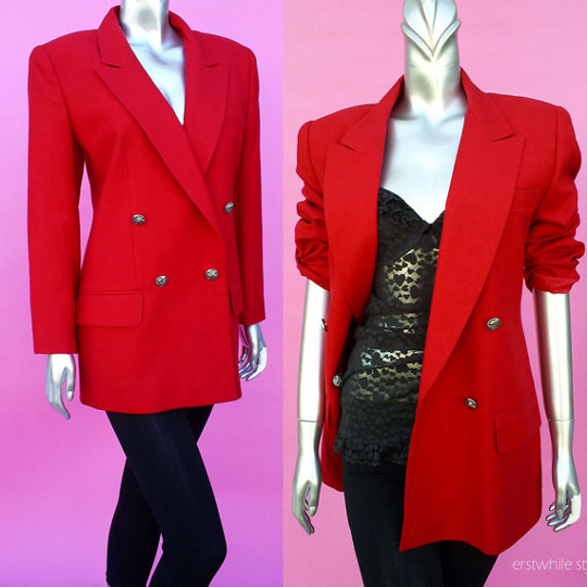 oversize red blazer from 1980s available to purchase on etsy