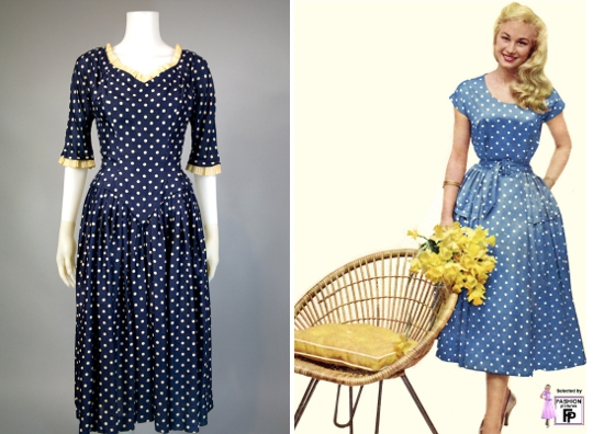two 1950s polka dot dresses