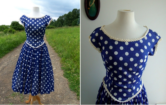 a vintage 1950s polka dot dress from etsy