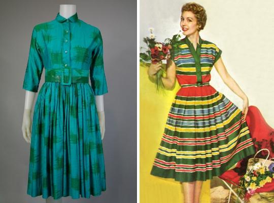 two 1950s shirtwaist dresses