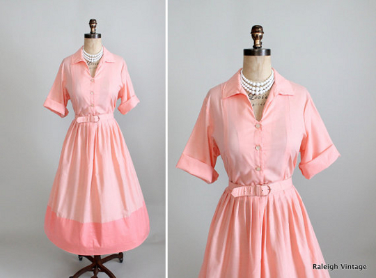 a pink 1950s shirtwaist dress from raleigh vintage