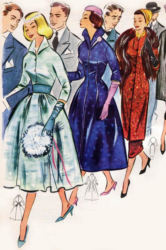 1950s dresscoat fashion advertisement