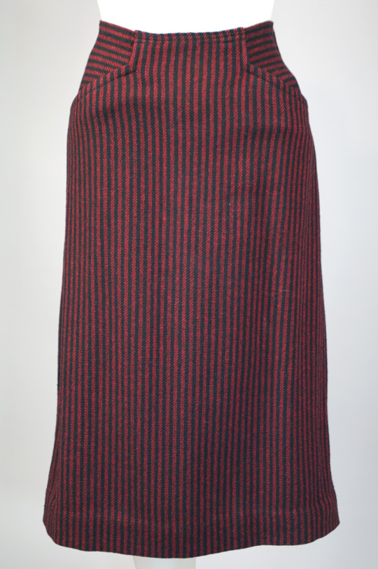 a pencil skirt in red and black pinstripes