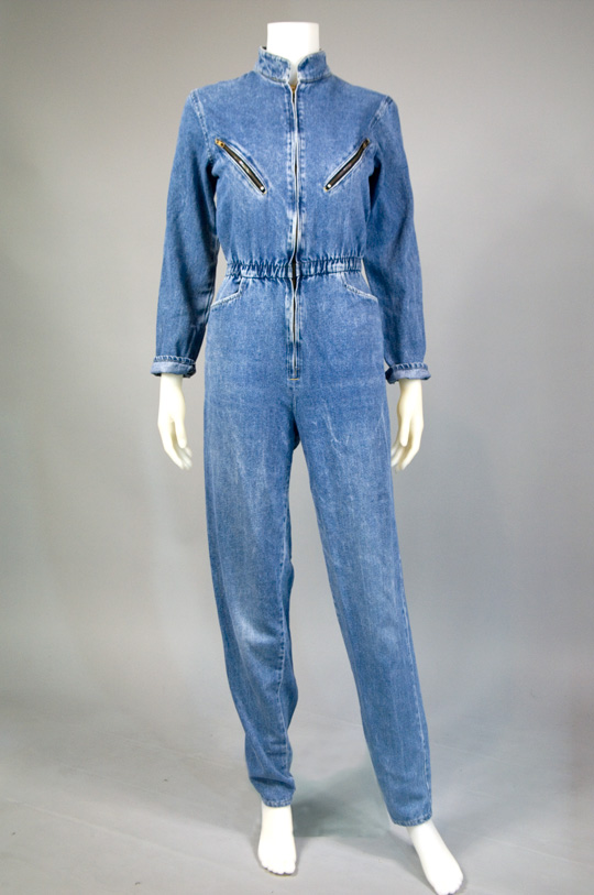 1980s clothing trend denim jumpsuit