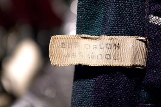vintage clothing material label