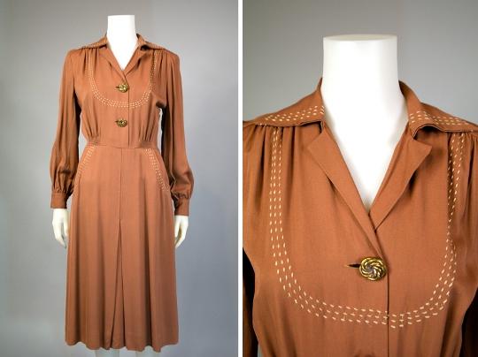 vintage gabardine dress from 1940s