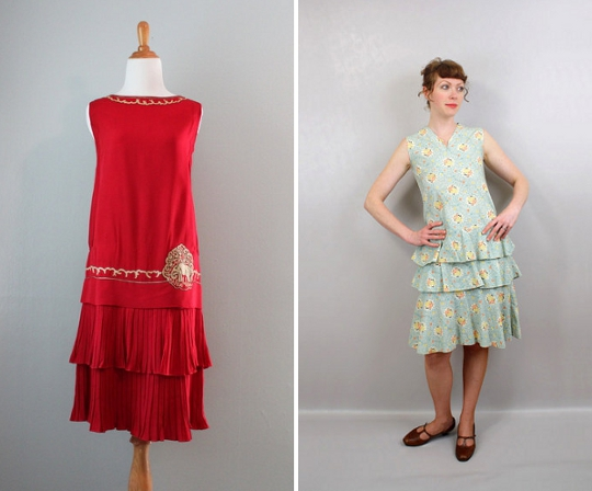 1920s tiered hem dresses from etsy