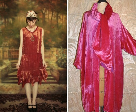 1920s velvet coats and dresses from etsy