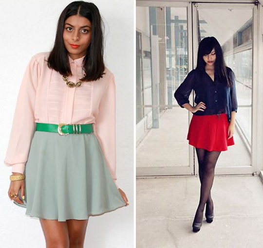 mini skirts worn by bloggers