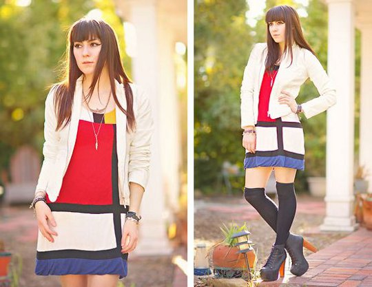 mondrian dress worn by fashion blogger