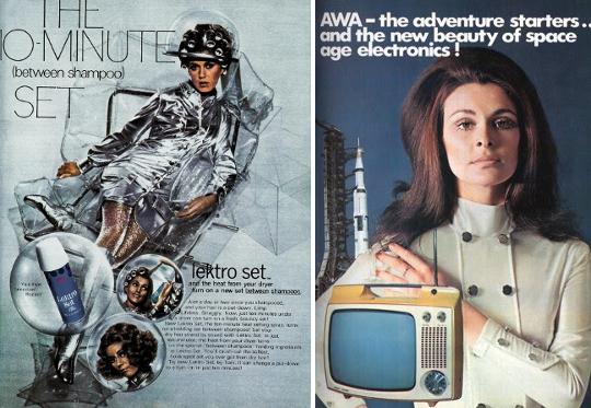 60s mod fashion futuristic advertising