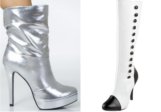 silver and white mod 60s fashion shoes