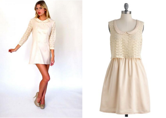 OWN IT VINTAGE: 1960s Oatmeal Lace Peter Pan Collar Dress , $48 on