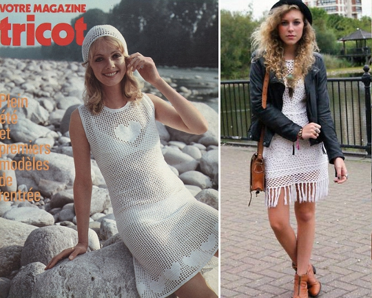 70s crochet dress advertisement alongside modern blogger wearing vintage '70s crochet dress
