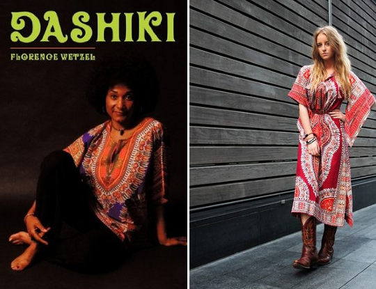 70s dress dashiki advertisement alongside modern woman wearing dashiki