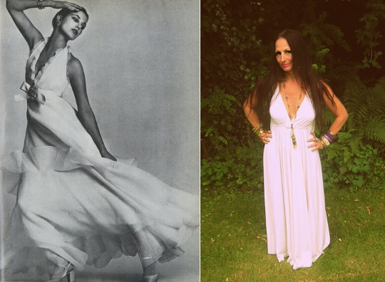 70s dresses 30s glam advertisement alongside modern fashion blogger vintage vixon