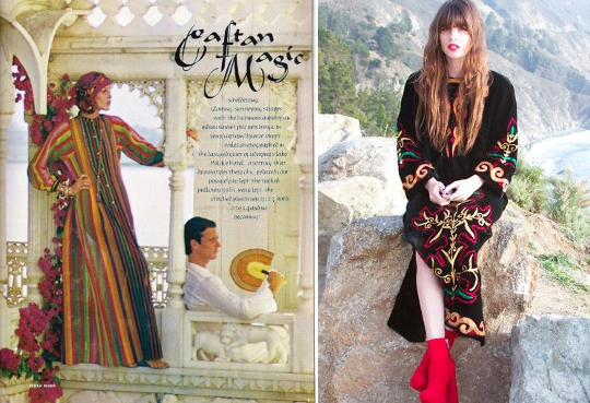 '70s dresses caftan vintage advertisement alongside fashion blogger